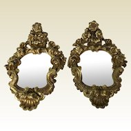Pair of late 1700's French Rococo Carved Gessoed Mirrors