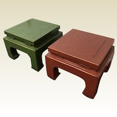 Pair of Vintage Designer Red & Green Lacquered Ming Chinese Style Low Side Table