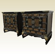 Pair of Small Vintage 4 Drawer Korean Lacquered & Burl Side Table Cabinets
