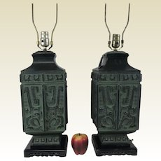 Pair of Large Mid Century Hollywood Regency Archaic James Mont Style Table Lamps