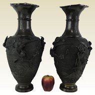 Pair of Antique Japanese Bronze Vase W/ Bird & Flower High Relief