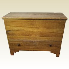 Antique 19th Century Mustard Paint Decorated W/ One Drawer Blanket Chest