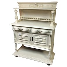 19th Century Ornate English Oak Sideboard Cabinet In W/ White Paint