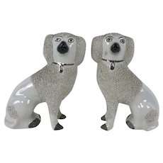 Pair of Antique Staffordshire Confetti Poodle Dog Figurine