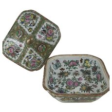 Antique 19th Century Chinese Porcelain Famille Rose Covered Vegetable