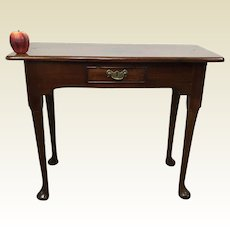 19 / 18th Century English Mahogany One Drawer Queen Anne Work Sofa Hall Table