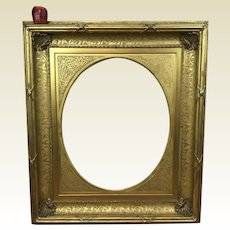 "Fine Large Antique 19th Century Gilded Frame W/ Removalbe Oval Fitting 40"" x 35"""
