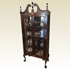 Vintage Mahogany Glass Front Chippendale Style China Cabinet