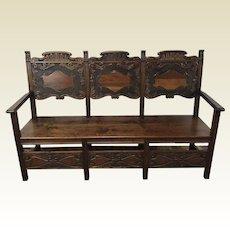 Antique Carved Walnut Bench