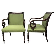 Pair of Vintage Regency Scrolled Arm Armchairs