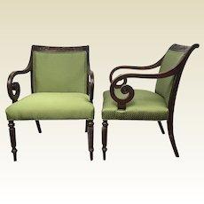 Pair of Vintage Regency Scrolled Arm Armchairs