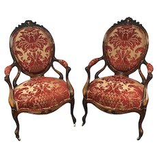Pair of French Victorian Carved Walnut & Rosewood Arm Chairs