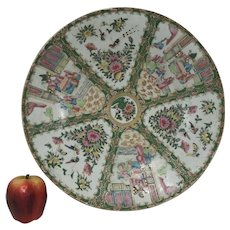 "Large 19th Century 16"" Chinese Porcelain Rose Medallion Charger Round Platter"