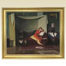 Oil on Canvas Endre Komaromi-kacz 1880-1969 Hungarian Art Deco Lady Reading