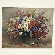 Adrienne Hermine Deak Henczne 1890-1956 Hungarian Wild Flowers Still Life Oil on Canvas Painting
