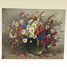 Adrienne Hermine Deak Henczne 1890-1956 Hungarian Wild Flowers Still Life Oil on Canvas Painting