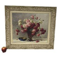 Adrienne Hermine Deak Henczne 1890-1956 Hungarian Flowers Still Life Oil on Canvas