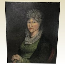 19th Century Portrait of a Lady Oil on Canvas Painting Circa 1850's Unframed