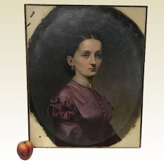 19th Century Portrait of a Victorian Lady Oil on Canvas Painting Unframed