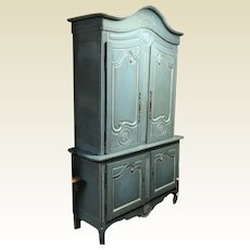 18th Century French 2 Part Cabinet / Armoire in Blue Wash