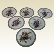 Set of 6 19th Century Hand Painted Escalier de Cristal Porcelain Plate Botanical Decoration