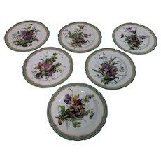 Set of 6 19th Century Hand Painted Escalier de Cristal Porcelain Plate Botanical Decoration