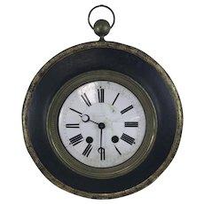 Antique Clock Maker Metal Trade Sign W/ Porcelain Face