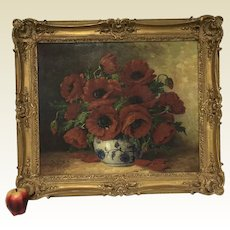 Antique Signed German Still Life of Poppy Flowers