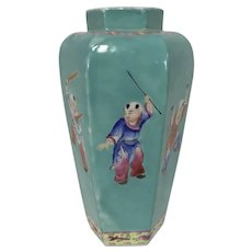 Antique Chinese Enameled Porcelain Vase W/ Turquoise Glaze Boys Playing Signed