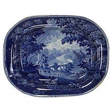 Rare Antique Historical Dark Blue 15 Inch Staffordshire Platter Italian Scenery