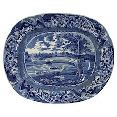 Historical Blue Staffordshire Upper Ferry Bridge Over the River Schuylkill Well and Tree Meat Platter