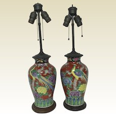 Pair of Antique Chinese Porcelain Vase Table Lamps With Bird Decoration