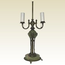 Art Deco Onyx & Brass Lions 2 light Table Lamp
