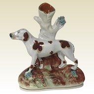 Rare 19th C Staffordshire Figural Hound Dog Spill Vase
