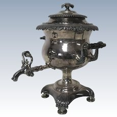 Antique Decorative Ornate Silverplate Hot Water Urn Samovar