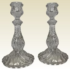 Baccarat French art glass crystal Bambous pattern tall candlesticks