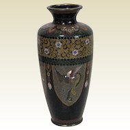 Fine Antique Japanese Meiji Period Cloisonne Vase 6""