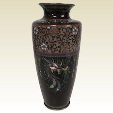 "Fine Antique Japanese Meiji Period Cloisonne Vase 6"""