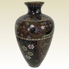 "Fine Large Antique Japanese Meiji Period Cloisonne Vase 12"""