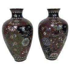 "Fine Pair of Antique Japanese Meiji Period Cloisonne Vases 7.25"""