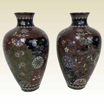 Fine Pair of Antique Japanese Meiji Period Cloisonne Vases 7.25""