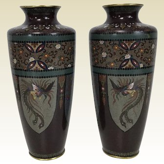 Fine Pair of Antique Japanese Meiji Period Cloisonne Vases 8.5""