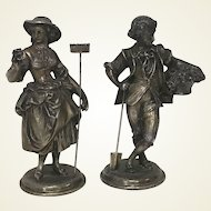 Pair of Figural Cast Metal Silverplate English Couple Figurine