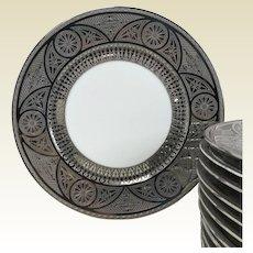 Set of 12 Furstenberg German Porcelain Dinner Plates W Silver Platinum Encrusted Decoration