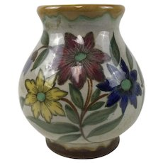 Gouda Pottery Flower Decorated Vase