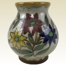 Gouda Pottery Flower Decorated Vase