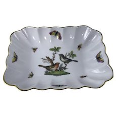 "Herend Rothschild Bird Rectangular Nut Dish 7 1/8"" (#7738)"