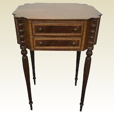 Sheraton Style Banded Mahogany 2 Drawer Side Table W/ Reeded Leg Cookie Corner