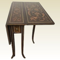 Circa 1900 Horner Co. Label Inlaid Tuck-away Drop leaf Side Table