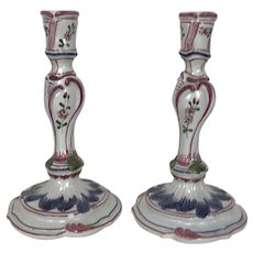 "Pair of 8"" Faience Candlesticks"